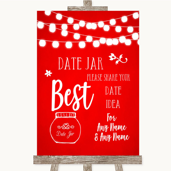 Red Watercolour Lights Date Jar Guestbook Personalised Wedding Sign