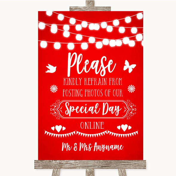 Red Watercolour Lights Don't Post Photos Online Social Media Wedding Sign