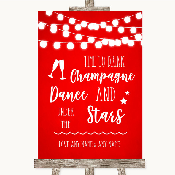 Red Watercolour Lights Drink Champagne Dance Stars Personalised Wedding Sign