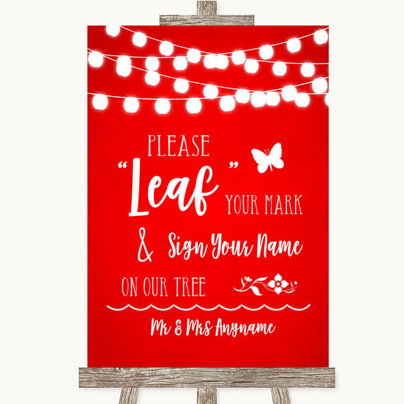 Red Watercolour Lights Fingerprint Tree Instructions Personalised Wedding Sign