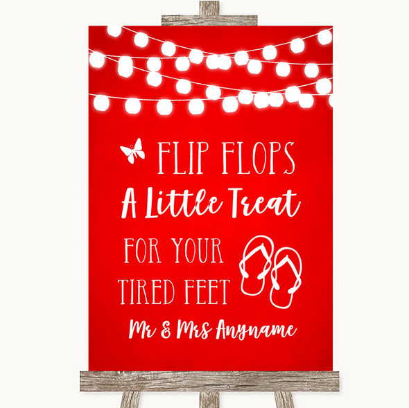Red Watercolour Lights Flip Flops Dancing Shoes Personalised Wedding Sign