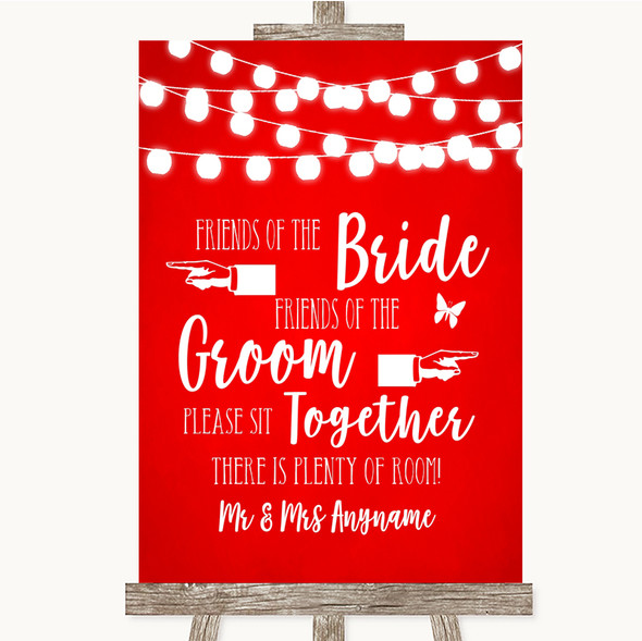 Red Watercolour Lights Friends Of The Bride Groom Seating Wedding Sign