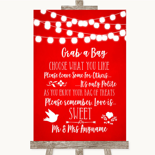 Red Watercolour Lights Grab A Bag Candy Buffet Cart Sweets Wedding Sign