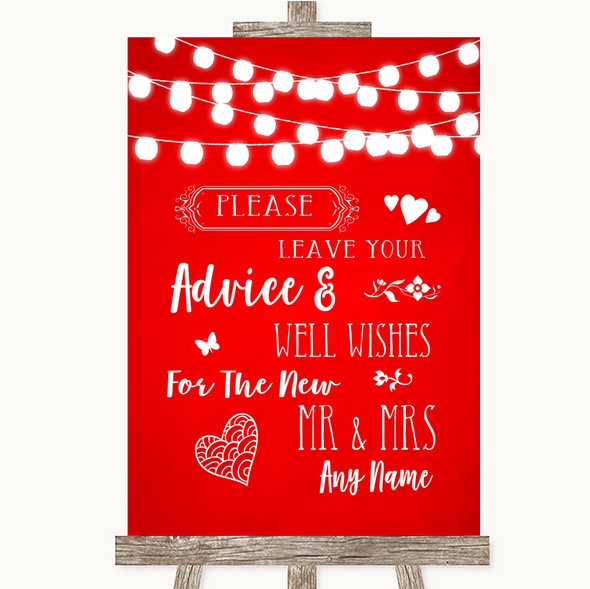 Red Watercolour Lights Guestbook Advice & Wishes Mr & Mrs Wedding Sign