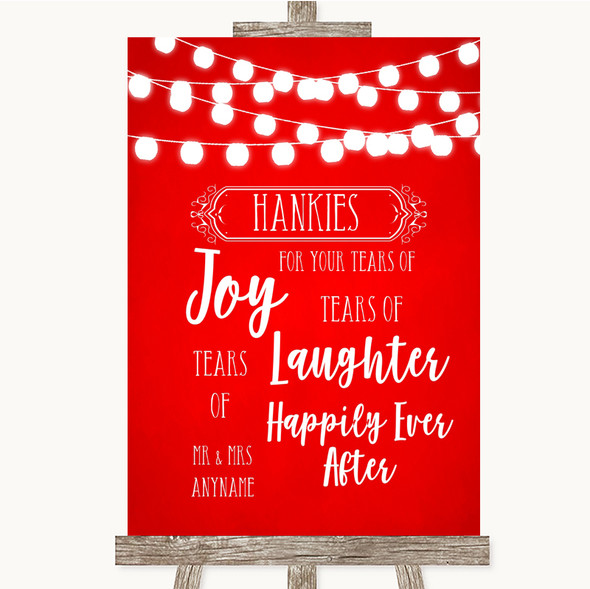 Red Watercolour Lights Hankies And Tissues Personalised Wedding Sign