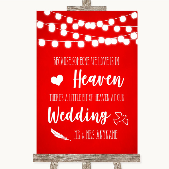 Red Watercolour Lights Heaven Loved Ones Personalised Wedding Sign