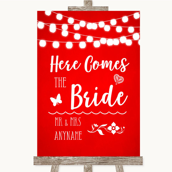 Red Watercolour Lights Here Comes Bride Aisle Personalised Wedding Sign