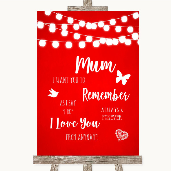 Red Watercolour Lights I Love You Message For Mum Personalised Wedding Sign