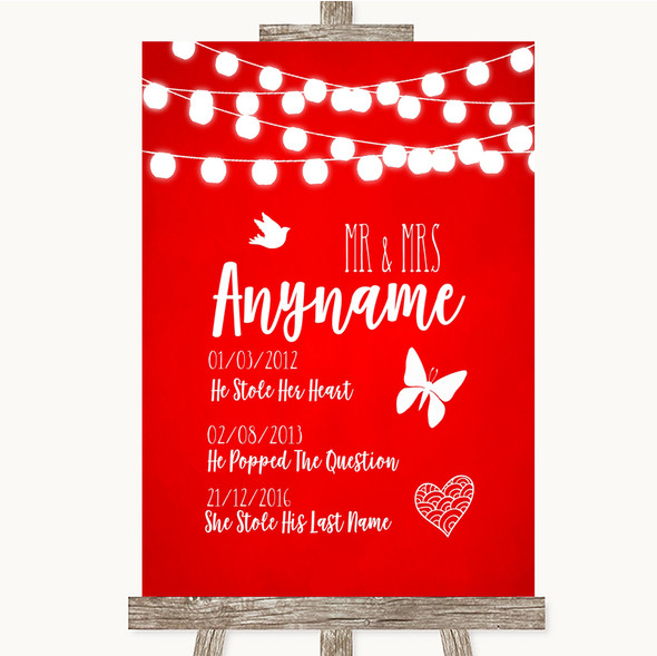 Red Watercolour Lights Important Special Dates Personalised Wedding Sign