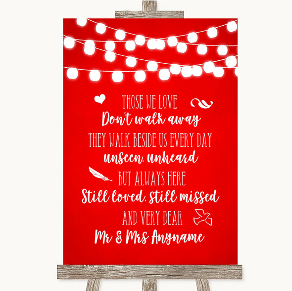 Red Watercolour Lights In Loving Memory Personalised Wedding Sign