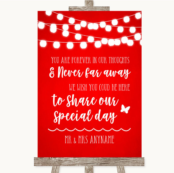 Red Watercolour Lights In Our Thoughts Personalised Wedding Sign