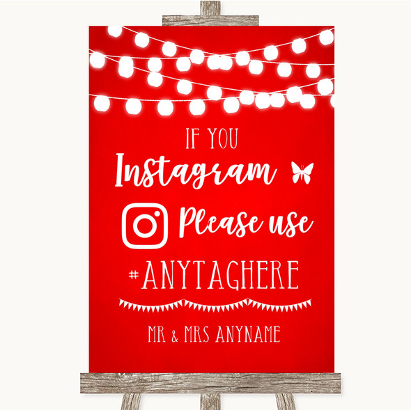 Red Watercolour Lights Instagram Hashtag Personalised Wedding Sign