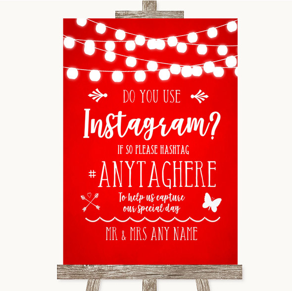 Red Watercolour Lights Instagram Photo Sharing Personalised Wedding Sign