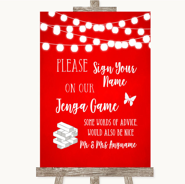 Red Watercolour Lights Jenga Guest Book Personalised Wedding Sign