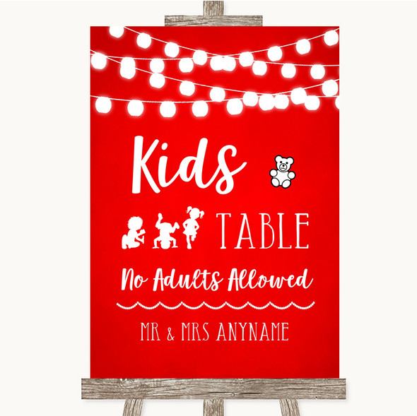 Red Watercolour Lights Kids Table Personalised Wedding Sign