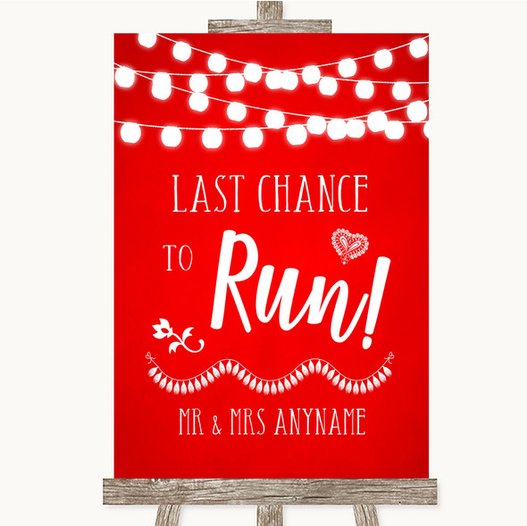 Red Watercolour Lights Last Chance To Run Personalised Wedding Sign