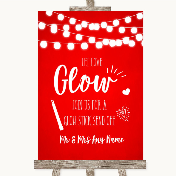 Red Watercolour Lights Let Love Glow Glowstick Personalised Wedding Sign