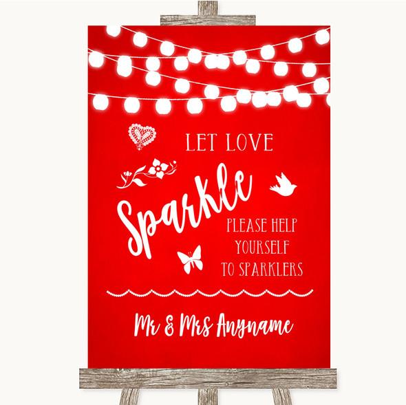 Red Watercolour Lights Let Love Sparkle Sparkler Send Off Wedding Sign
