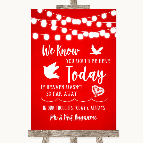 Red Watercolour Lights Loved Ones In Heaven Personalised Wedding Sign