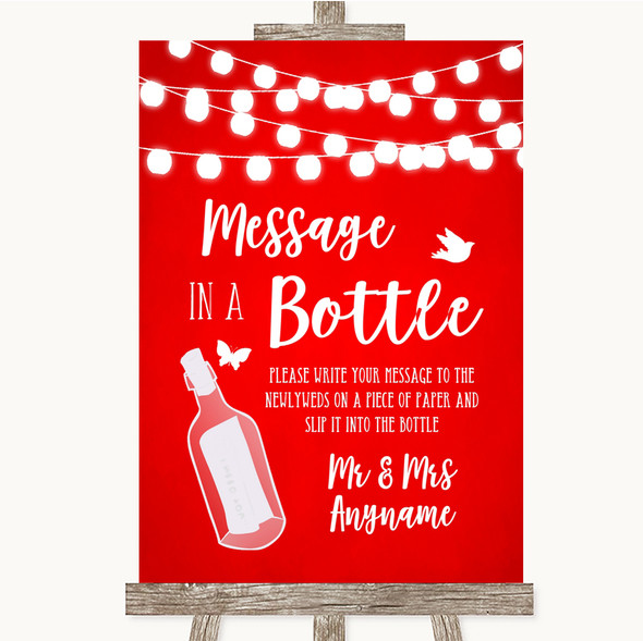 Red Watercolour Lights Message In A Bottle Personalised Wedding Sign