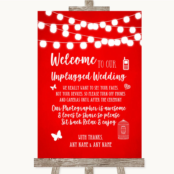 Red Watercolour Lights No Phone Camera Unplugged Personalised Wedding Sign
