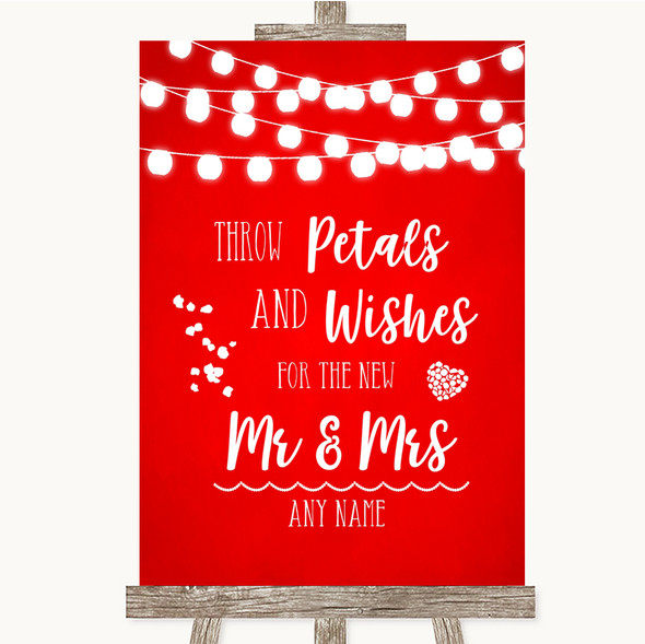 Red Watercolour Lights Petals Wishes Confetti Personalised Wedding Sign