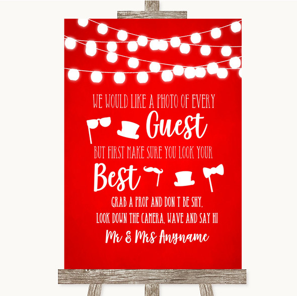 Red Watercolour Lights Photo Prop Guestbook Personalised Wedding Sign