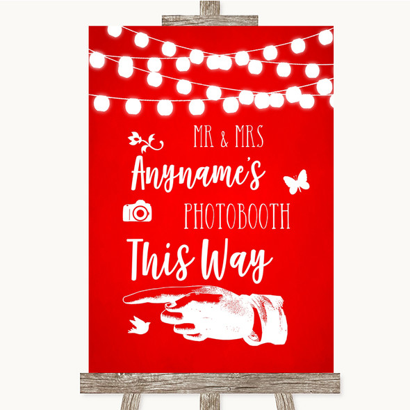 Red Watercolour Lights Photobooth This Way Left Personalised Wedding Sign
