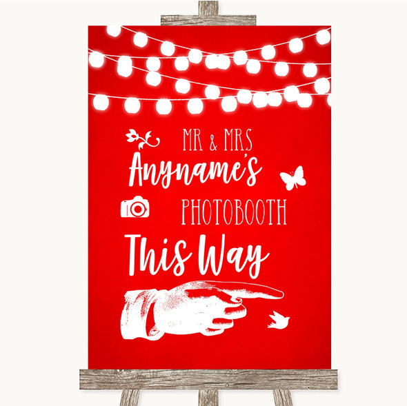 Red Watercolour Lights Photobooth This Way Right Personalised Wedding Sign