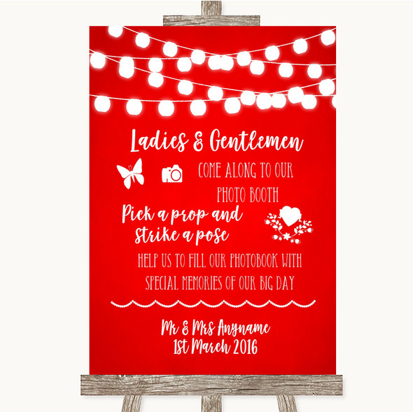 Red Watercolour Lights Pick A Prop Photobooth Personalised Wedding Sign