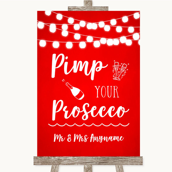 Red Watercolour Lights Pimp Your Prosecco Personalised Wedding Sign