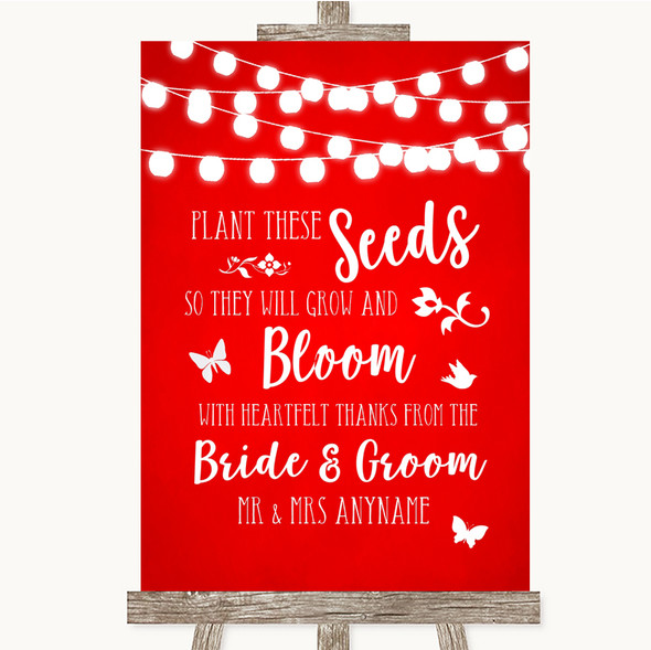 Red Watercolour Lights Plant Seeds Favours Personalised Wedding Sign