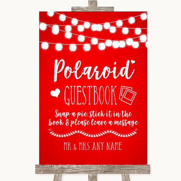 Red Watercolour Lights Polaroid Guestbook Personalised Wedding Sign
