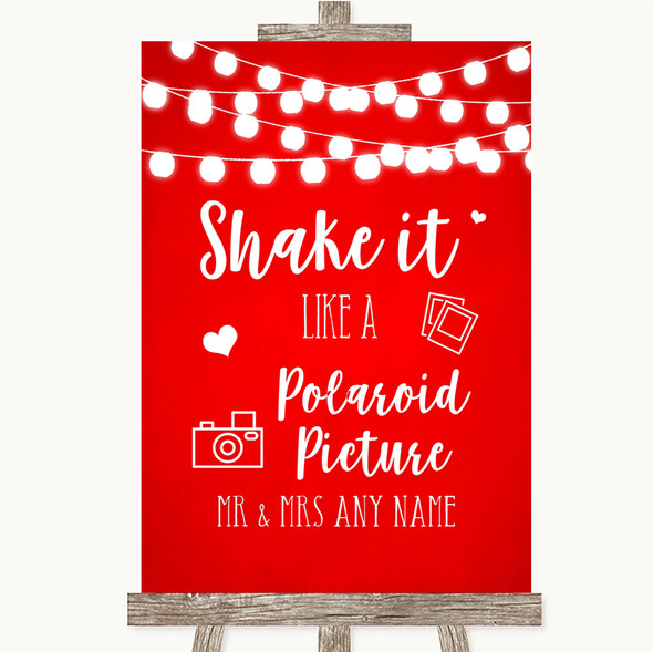 Red Watercolour Lights Polaroid Picture Personalised Wedding Sign
