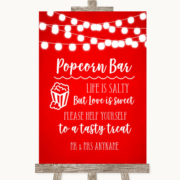 Red Watercolour Lights Popcorn Bar Personalised Wedding Sign