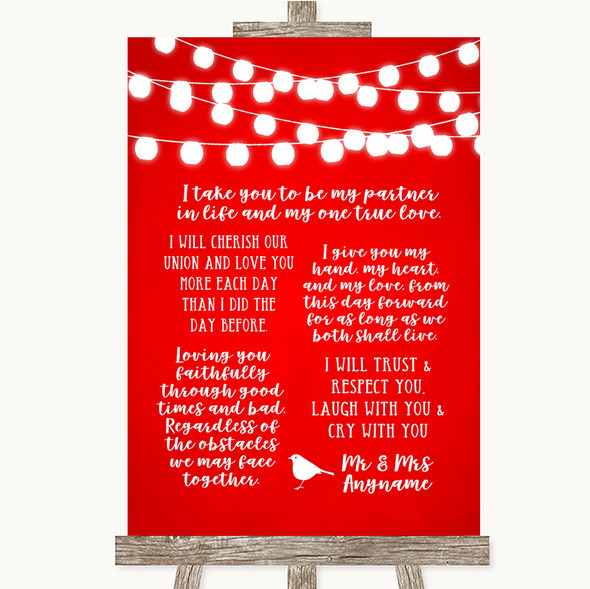 Red Watercolour Lights Romantic Vows Personalised Wedding Sign