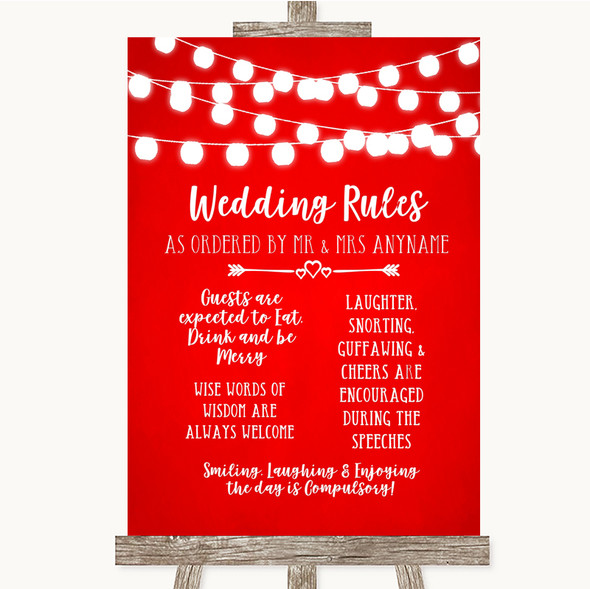 Red Watercolour Lights Rules Of The Wedding Personalised Wedding Sign