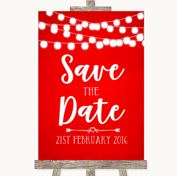 Red Watercolour Lights Save The Date Personalised Wedding Sign