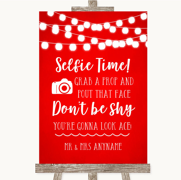 Red Watercolour Lights Selfie Photo Prop Personalised Wedding Sign