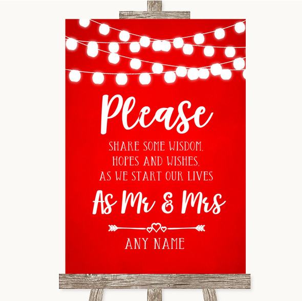 Red Watercolour Lights Share Your Wishes Personalised Wedding Sign