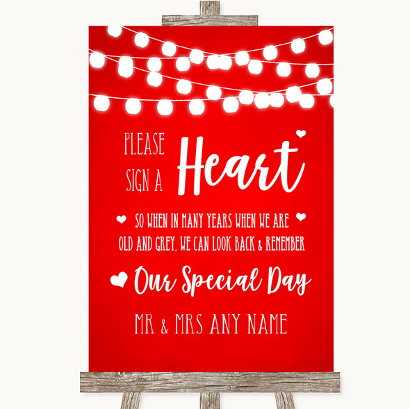 Red Watercolour Lights Sign a Heart Personalised Wedding Sign