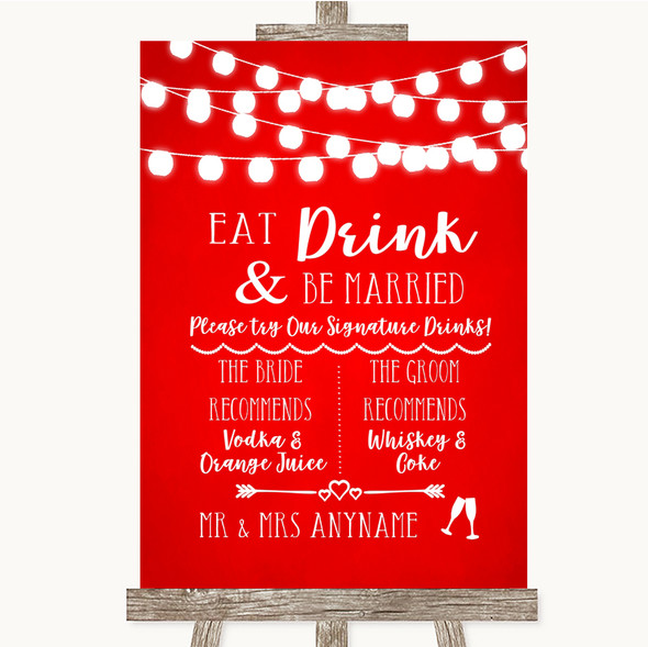 Red Watercolour Lights Signature Favourite Drinks Personalised Wedding Sign