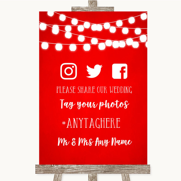 Red Watercolour Lights Social Media Hashtag Photos Personalised Wedding Sign