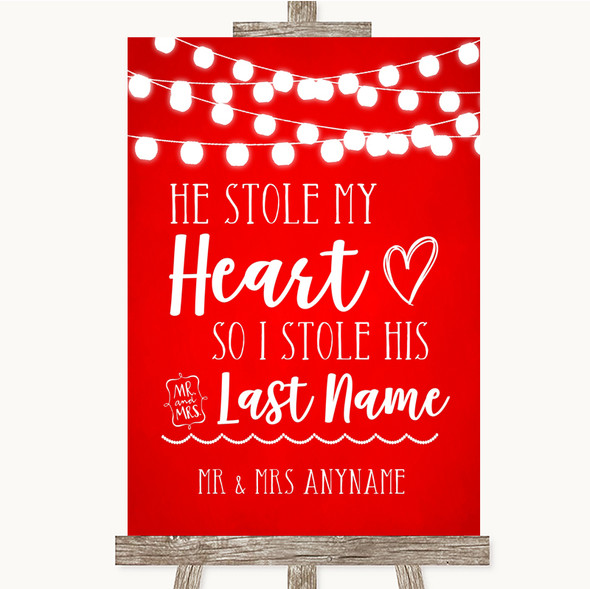 Red Watercolour Lights Stole Last Name Personalised Wedding Sign
