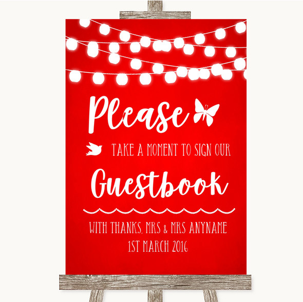Red Watercolour Lights Take A Moment To Sign Our Guest Book Wedding Sign