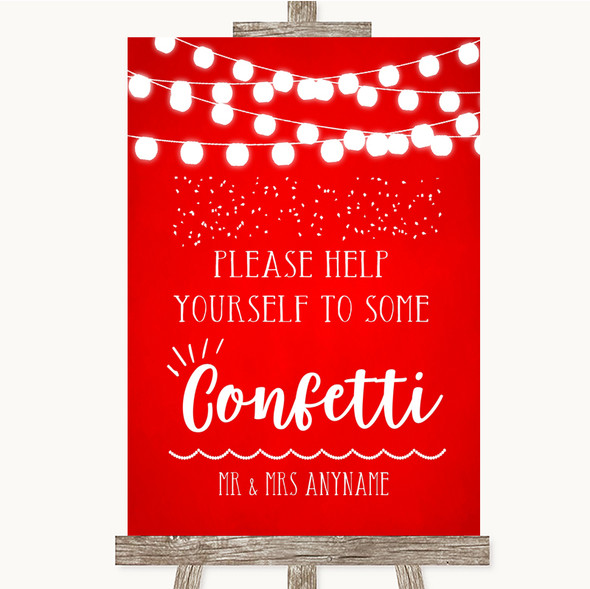 Red Watercolour Lights Take Some Confetti Personalised Wedding Sign