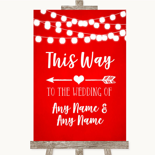 Red Watercolour Lights This Way Arrow Left Personalised Wedding Sign