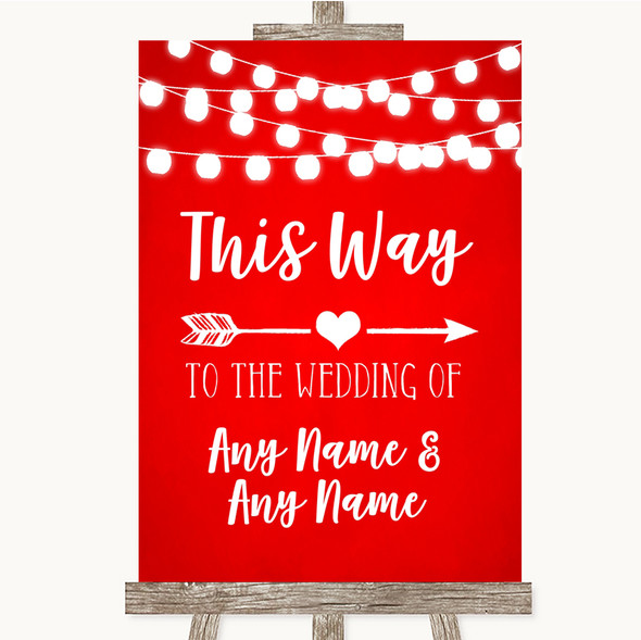 Red Watercolour Lights This Way Arrow Right Personalised Wedding Sign