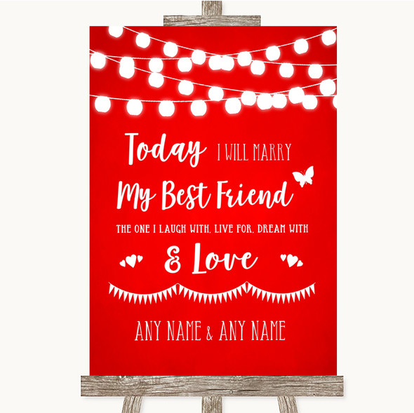 Red Watercolour Lights Today I Marry My Best Friend Personalised Wedding Sign