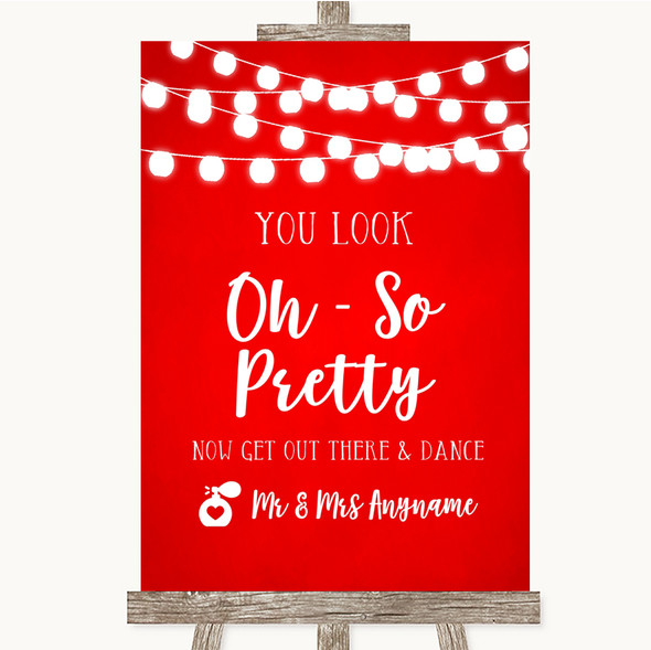 Red Watercolour Lights Toilet Get Out & Dance Personalised Wedding Sign